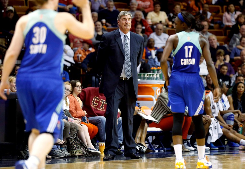 Bill Laimbeer on the court coaching his players. Courtesy of ESPNW